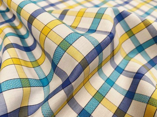 Hampton 157 yellow check fabric