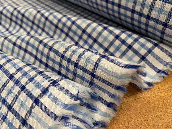 Sport Pinpoint 50 Blue checked fabric