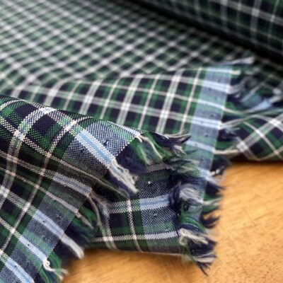 Sport Pinpoint 60 Green checked fabric