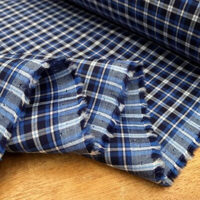 Sport Pinpoint 60 Blue checked fabric