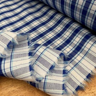 Hampton 200 Blue checked fabric