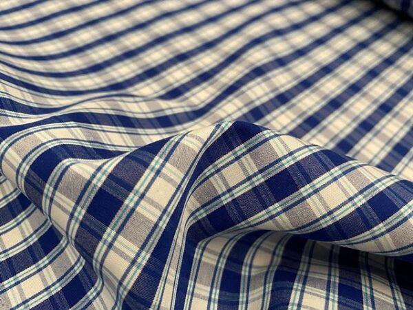 Hampton 200 Blue checked fabric
