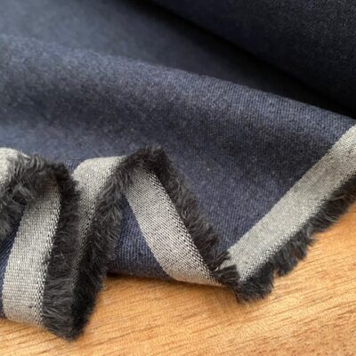 Fife plain indigo brushed cotton fabric