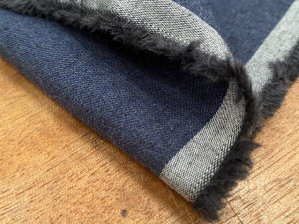 Fife plain indigo brushed cotton fabric