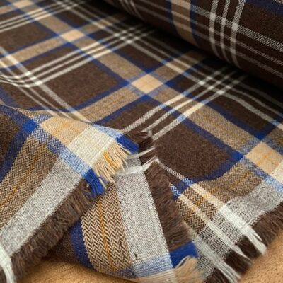 Fife 16 Brown checked fabric