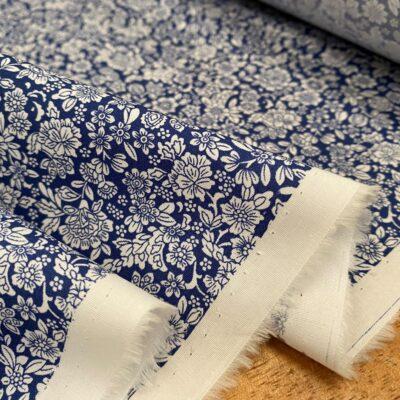 Hampton 410 blue printed fabric