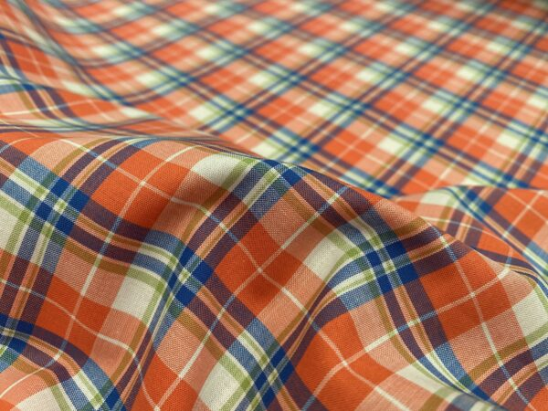 Hampton 149 coral check fabric